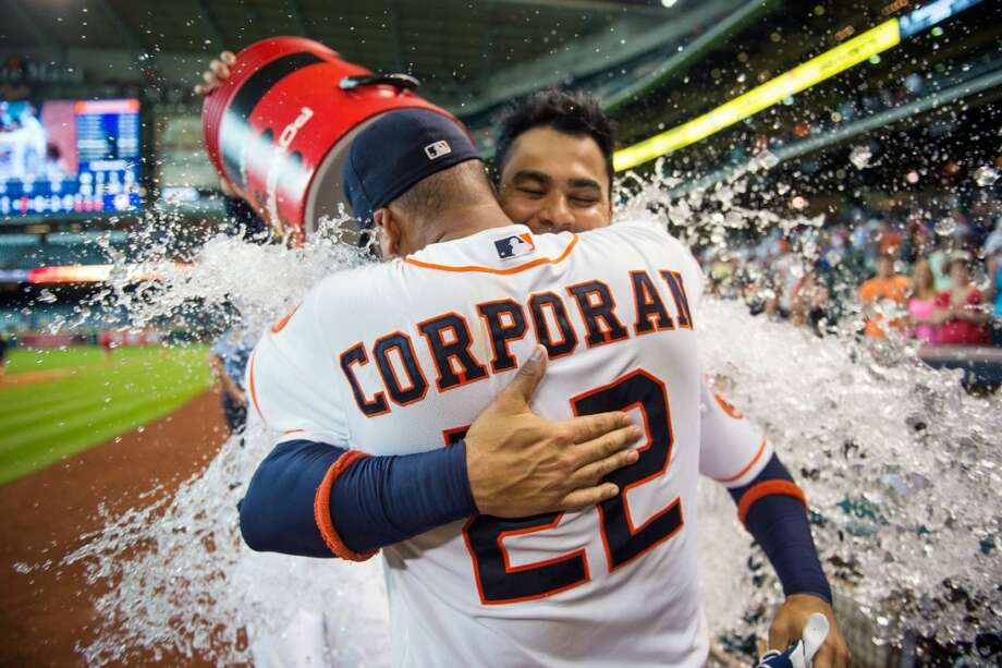 June 20: Astros 7, Brewers 4 (10 innings)Astros first baseman Carlos Pena is doused with water as he hugs teammate Carlos Corporan after hitting a three-run walk-off home run in the 10th inning.