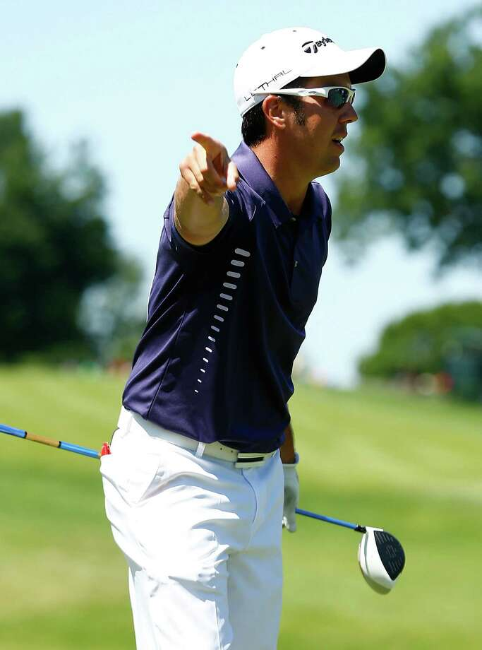 CROMWELL, CT- JUNE 20: Kyle Bilodeau reacts after teeing off on the 18th hole during the first round of the 2013 Travelers Championship at TPC River Highlands on June 20, 2012 in Cromwell, Connecticut. Photo: Jared Wickerham, Getty Images / 2013 Getty Images