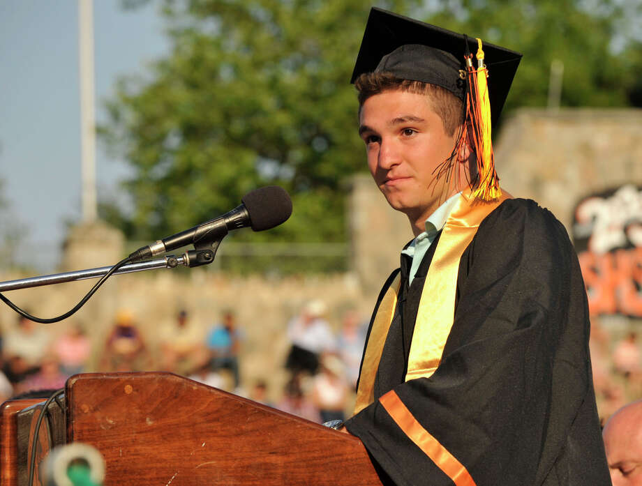 Class President Eric Altamura speaks during the Stamford High School graduation ceremony on Thursday, June 20, 2013. Photo: Jason Rearick / Stamford Advocate