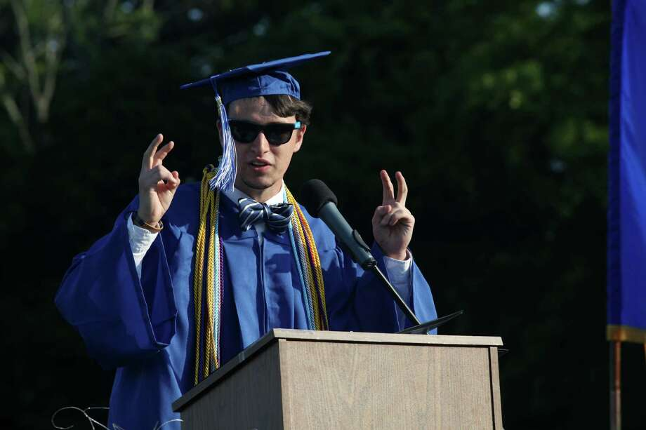 Fairfield Ludlowe High School graduate Thomas Romano gives the valedictory address during commencement exercises at the Connecticut school on Thursday, June 20, 2013. Photo: BK Angeletti, B.K. Angeletti / Connecticut Post freelance B.K. Angeletti
