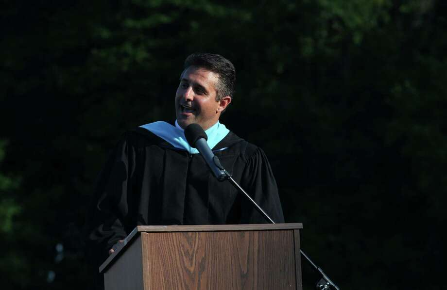 Fairfield Ludlowe High School Headmaster Greg Hatzis addresses graduates during commencement exercises at the Connecticut school on Thursday, June 20, 2013. Photo: BK Angeletti, B.K. Angeletti / Connecticut Post freelance B.K. Angeletti