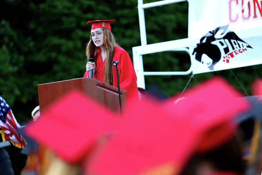 Mike Ross Connecticut Post freelance -Platt Tech's Ashley Hatt gives the valedictorian address during Thursday afternoon's commencement exercises. Photo: Mike Ross / Mike Ross Connecticut Post freelance -www.mikerossphoto.com