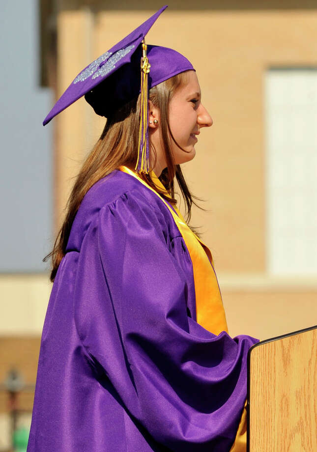 Class President Christiana Provenzano speaks during the Westhill High School graduation ceremony in Stamford on Thursday, June 20, 2013. Photo: Jason Rearick / Stamford Advocate