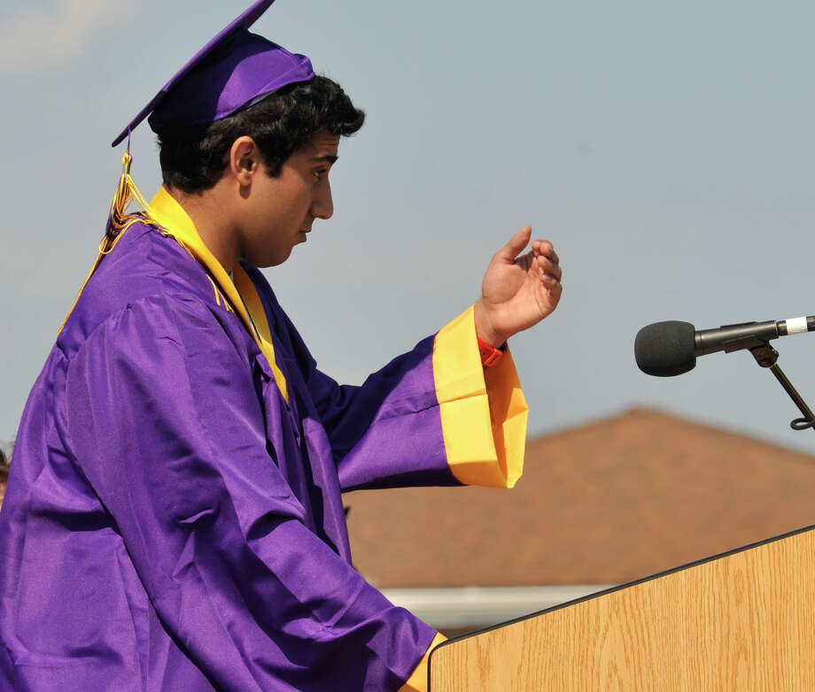 Speaker of the class Shabaz Khan gives his address during the Westhill High School graduation ceremony in Stamford on Thursday, June 20, 2013. Photo: Jason Rearick / Stamford Advocate