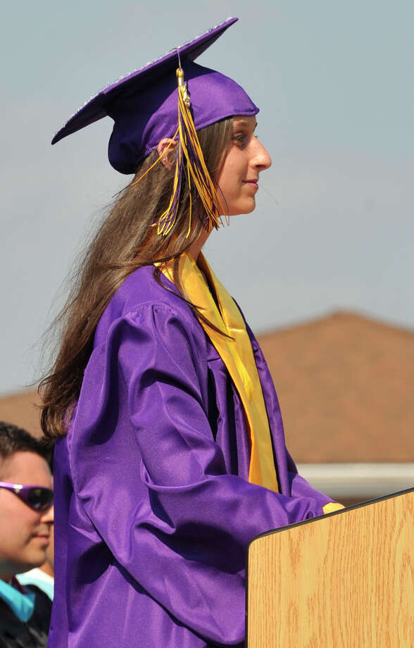 Class treasurer Joely Mass speaks during the Westhill High School graduation ceremony in Stamford on Thursday, June 20, 2013. Photo: Jason Rearick / Stamford Advocate