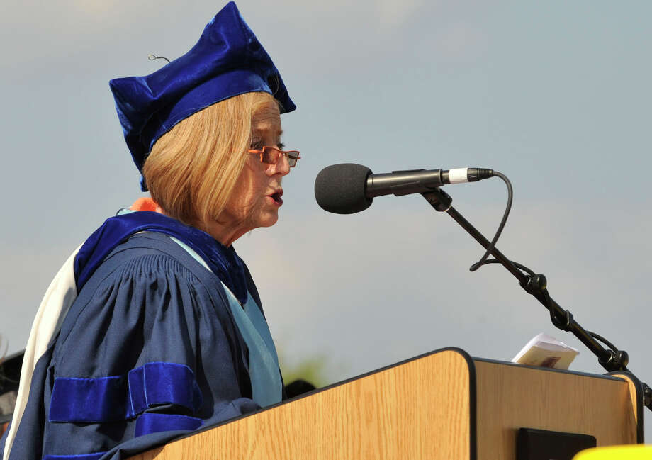 Superintendent Dr. Winifred Hamilton speaks during the Westhill High School graduation ceremony in Stamford on Thursday, June 20, 2013. Photo: Jason Rearick / Stamford Advocate