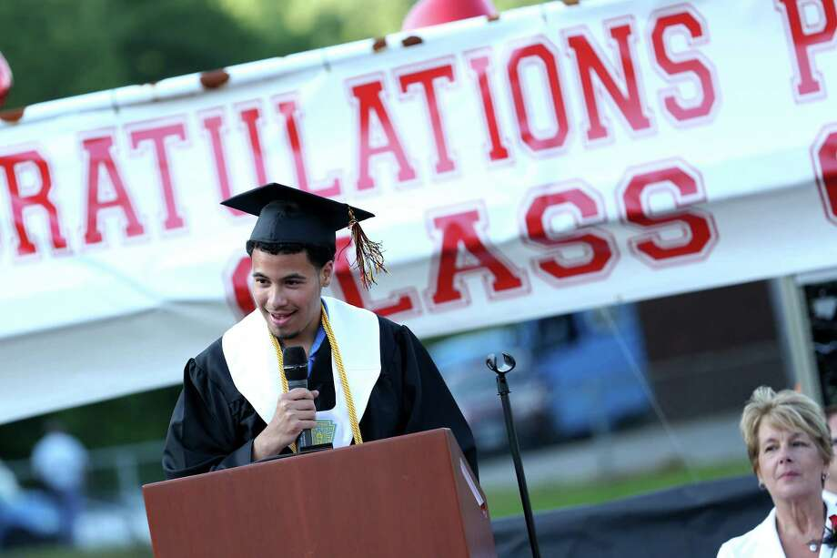 Mike Ross Connecticut Post freelance -Platt Tech Kevin Pineda gives the saluatatorian address during Thursday afternoon's commencement exercises. Photo: Mike Ross / Mike Ross Connecticut Post freelance -www.mikerossphoto.com
