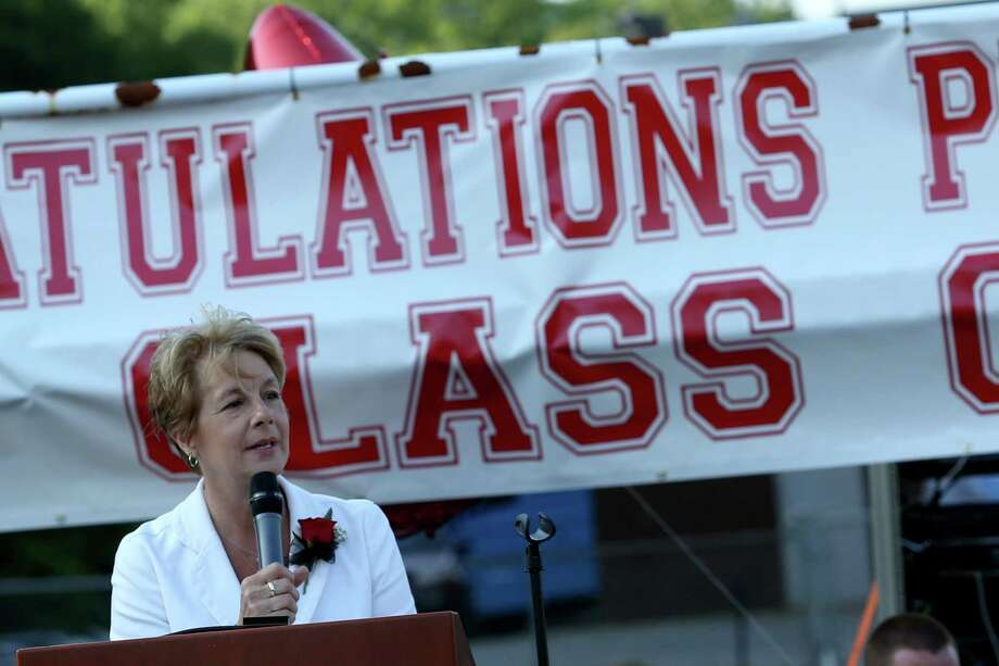 Mike Ross Connecticut Post freelance -Platt Tech Principal Sheila M. Williams addresses students and audience during Thursday afternoon's commencement exercises. Photo: Mike Ross / Mike Ross Connecticut Post freelance -www.mikerossphoto.com