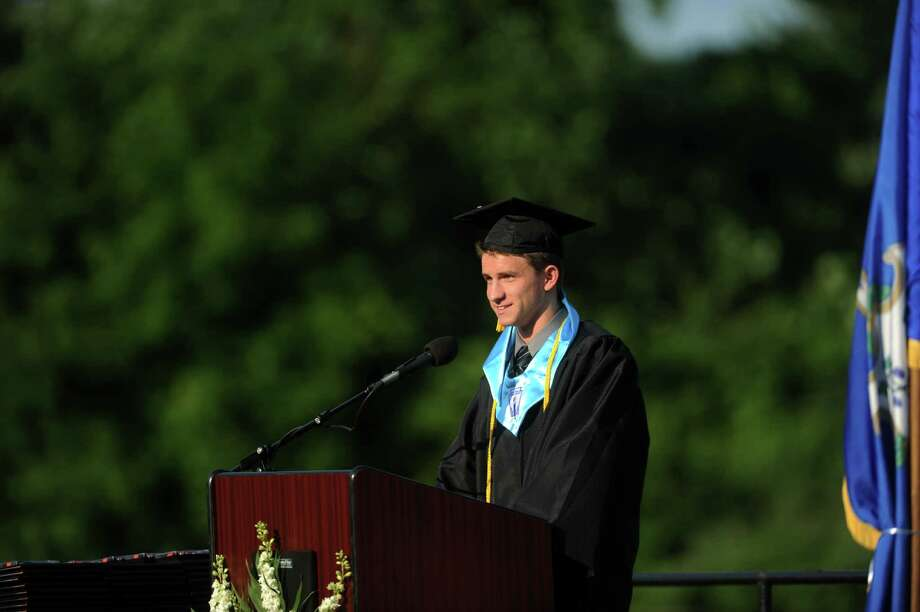 Salutatorian Joseph Jacob Stein speaks during Shelton High School's commencement ceremony Thursday, June 20, 2013 at the school. Photo: Autumn Driscoll / Connecticut Post