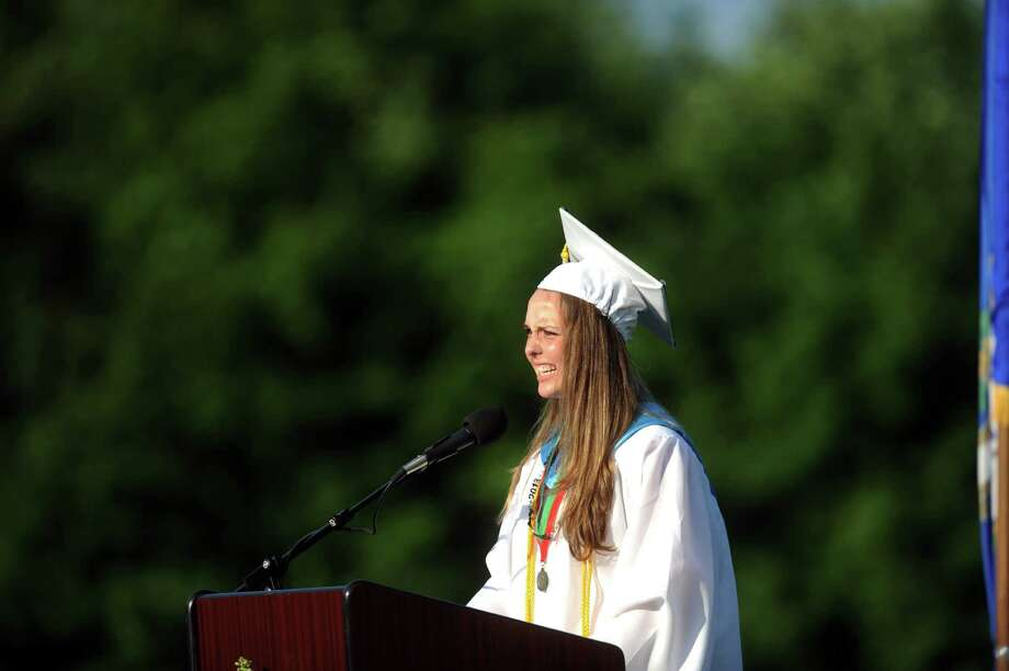 Valedictorian Kristen Anne Grabarz speaks during Shelton High School's commencement ceremony Thursday, June 20, 2013 at the school. Photo: Autumn Driscoll / Connecticut Post
