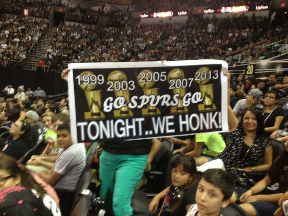 Spurs fan Rose Cordes made this amazing sign for the watch party at the AT&T Center. Photo: Michelle Casady / San Antonio Express-News