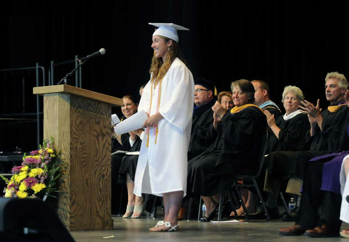 Valedictory Stefani Schmitz gives her address during Ballston Spa High School's graduation commencement at SPAC on Friday June 20, 2013 in Saratoga Springs, N.Y. (Michael P. Farrell/Times Union)
