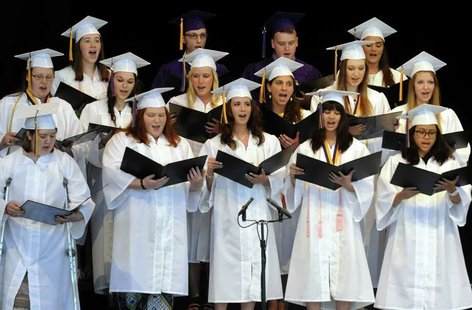 "The senior chorus performs ""On My Way""  a Phil Collins song during Ballston Spa High School's graduation commencement at SPAC on Friday June 20, 2013 in Saratoga Springs, N.Y. (Michael P. Farrell/Times Union) Photo: Michael P. Farrell"