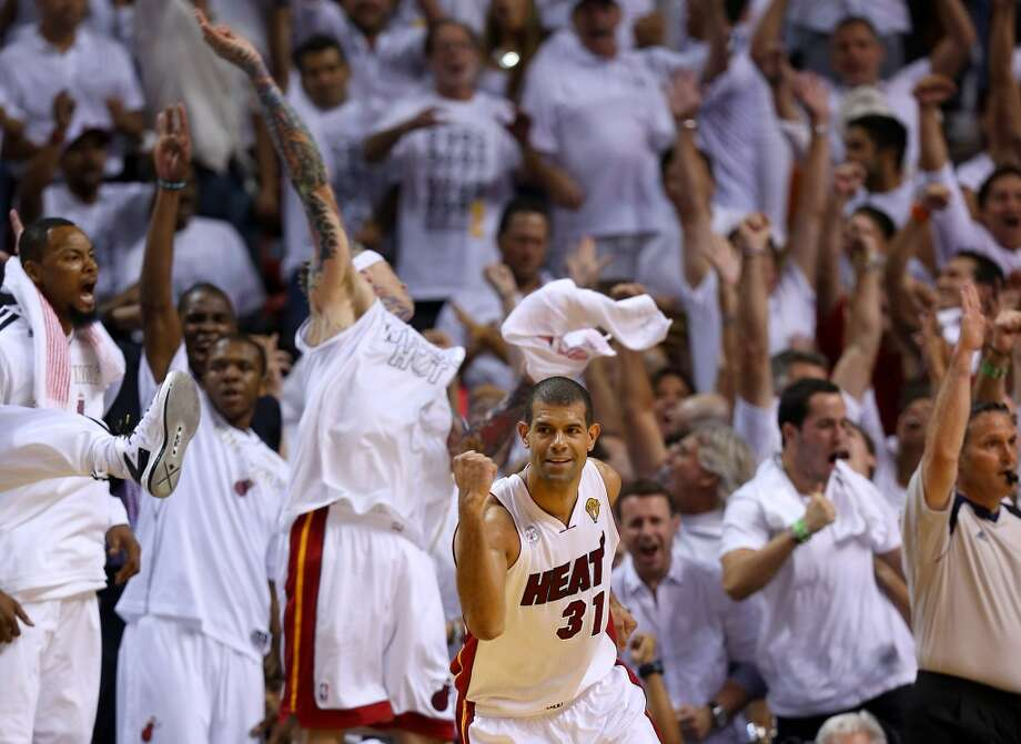 Shane Battier reacts after making a three-pointer. Photo: Mike Ehrmann, Getty Images
