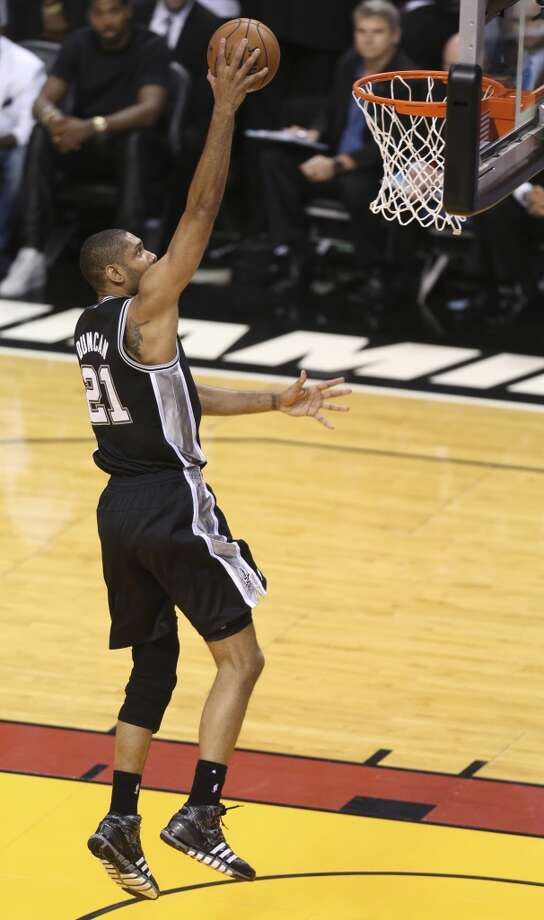 San Antonio Spurs' Tim Duncan makes an easy layup during the first half of Game 7 of the NBA Finals at American Airlines Arena on Thursday, June 20, 2013 in Miami. (Jerry Lara/San Antonio Express-News) Photo: Jerry Lara, San Antonio Express-News
