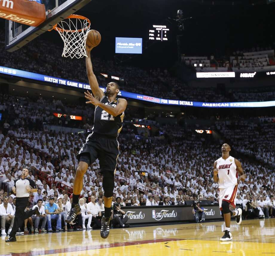 San Antonio Spurs' Tim Duncan makes an easy layup during the first half of Game 7 of the 2013 NBA Finals Thursday, June 20, 2013 at American Airlines Arena in Miami. (Edward A. Ornelas/San Antonio Express-News) Photo: Edward A. Ornelas, San Antonio Express-News