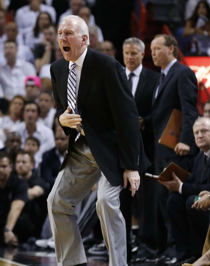 San Antonio Spurs head coach Gregg Popovich yells during the first half of Game 7 of the 2013 NBA Finals Thursday, June 20, 2013 at American Airlines Arena in Miami. (Edward A. Ornelas/San Antonio Express-News) Photo: Edward A. Ornelas, San Antonio Express-News