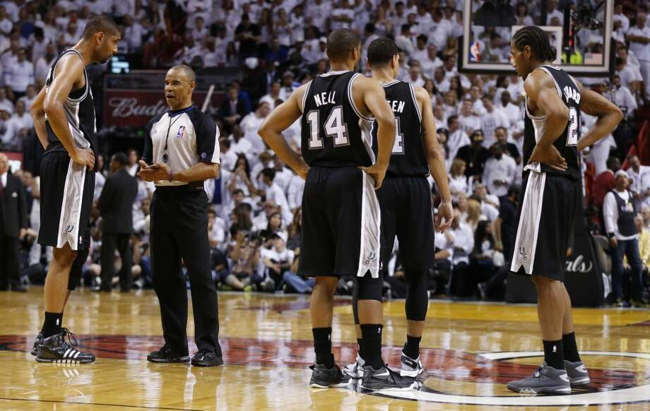 San Antonio Spurs' Tim Duncan talks to a referee during the first half of Game 7 of the 2013 NBA Finals Thursday, June 20, 2013 at American Airlines Arena in Miami. (Edward A. Ornelas/San Antonio Express-News) Photo: Edward A. Ornelas, San Antonio Express-News