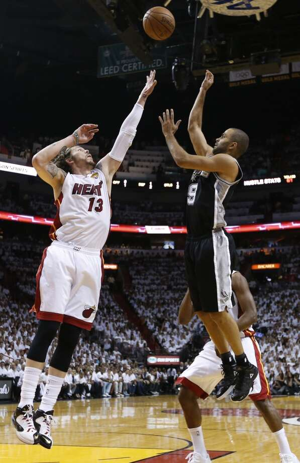 San Antonio Spurs' Tony Parker shoots over Miami Heat's Mike Miller during the first half of Game 7 of the 2013 NBA Finals Thursday, June 20, 2013 at American Airlines Arena in Miami. (Edward A. Ornelas/San Antonio Express-News) Photo: Edward A. Ornelas, San Antonio Express-News