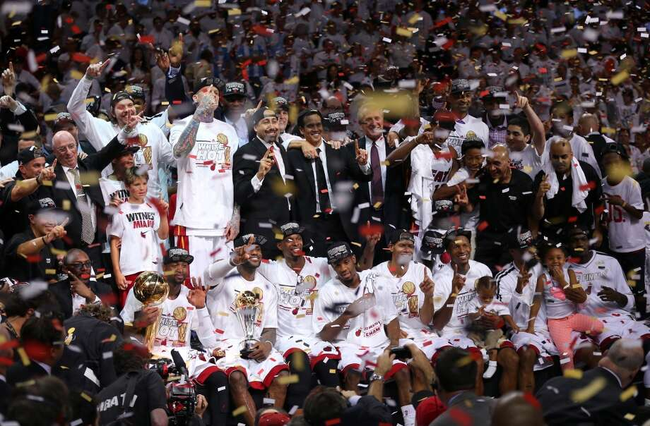 June 20: Game 7 - Heat 95, Spurs 88The Heat celebrate after defeating the Spurs to win Game 7 of the 2013 NBA Finals. Photo: Mike Ehrmann, Getty Images