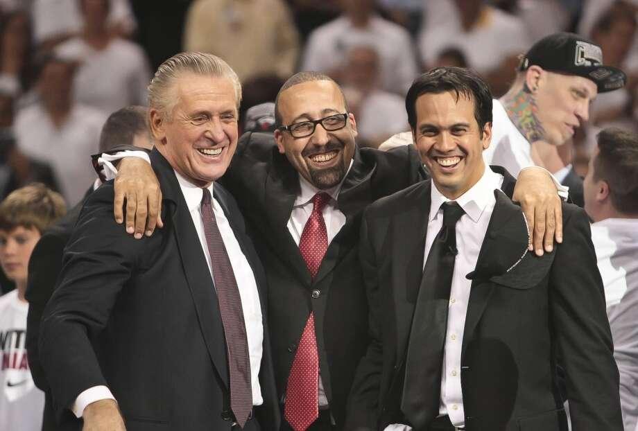 Pat Riley, David Fizdale, and Erik Spoelstra celebrate another NBA title. Photo: Bill Ingram, McClatchy-Tribune News Service