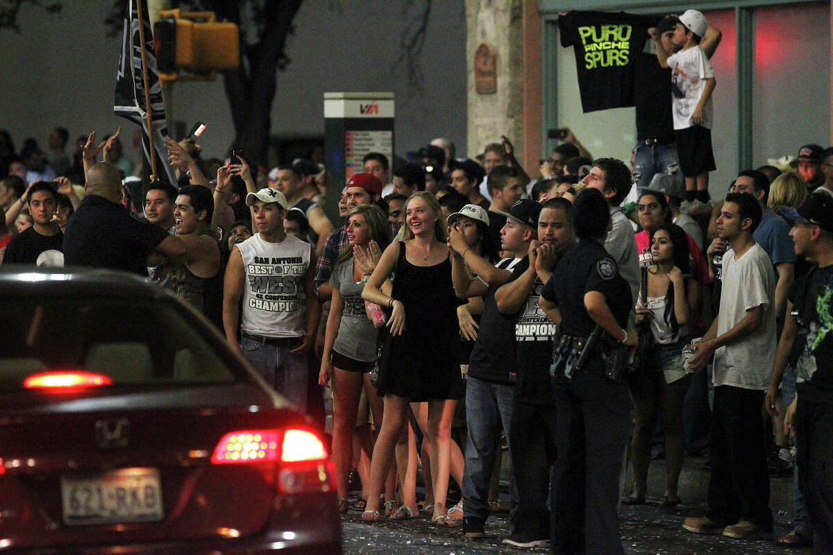 Loyal Spurs fans gather to party in downtown San Antonio after the Spurs lost on the NBA Finals on June 21, 2013.