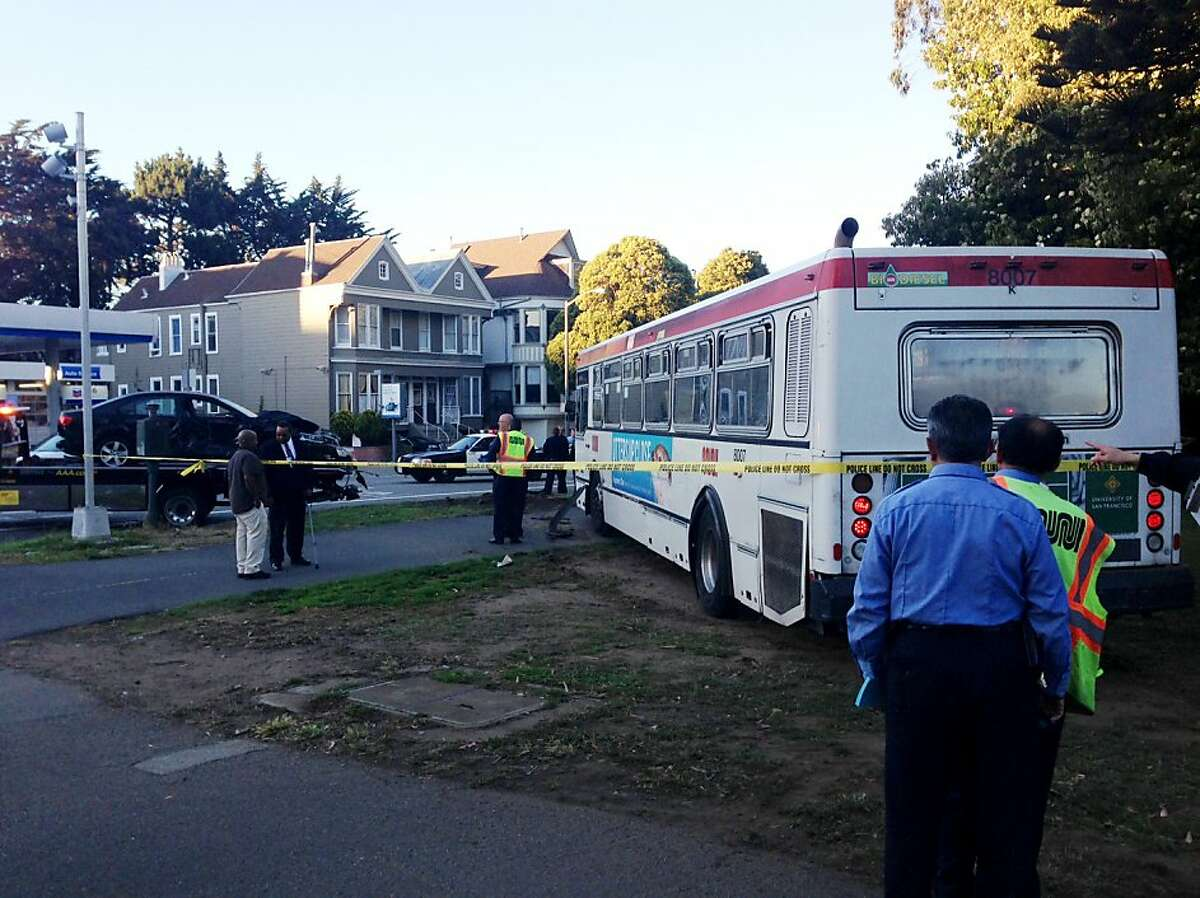 A collision between a Muni bus and a car in San Francisco's Panhandle neighborhood sent the bus driver to the hospital with minor injuries Thursday night.