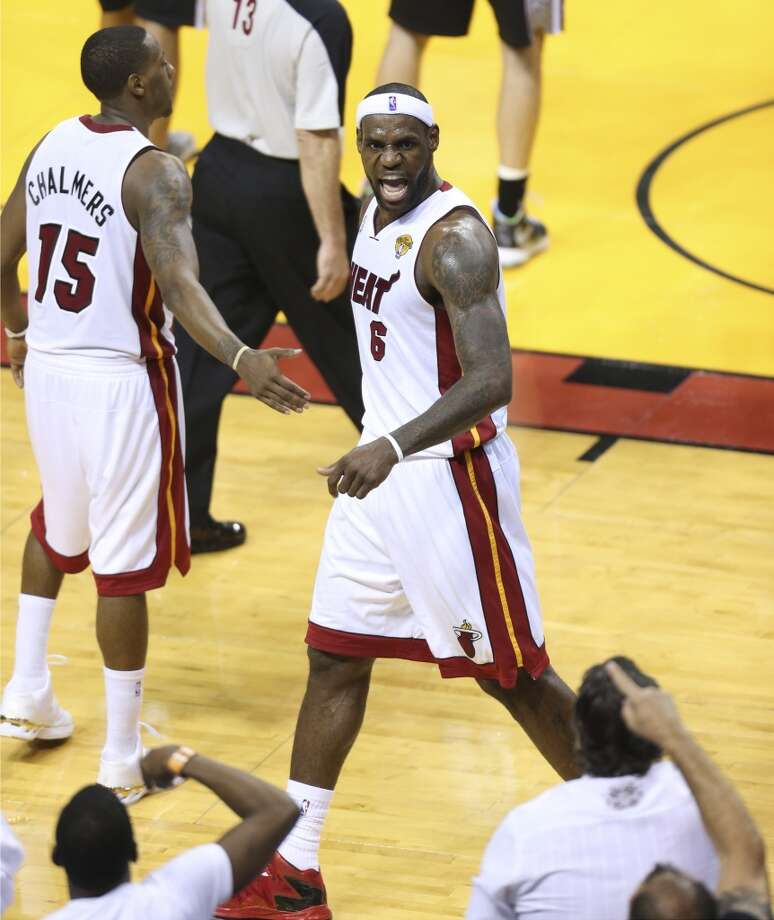 Miami Heat's LeBron James reacts towards the fans during the second half of Game 7 of the NBA Finals at American Airlines Arena on Thursday, June 20, 2013 in Miami. (Jerry Lara/San Antonio Express-News) Photo: San Antonio Express-News