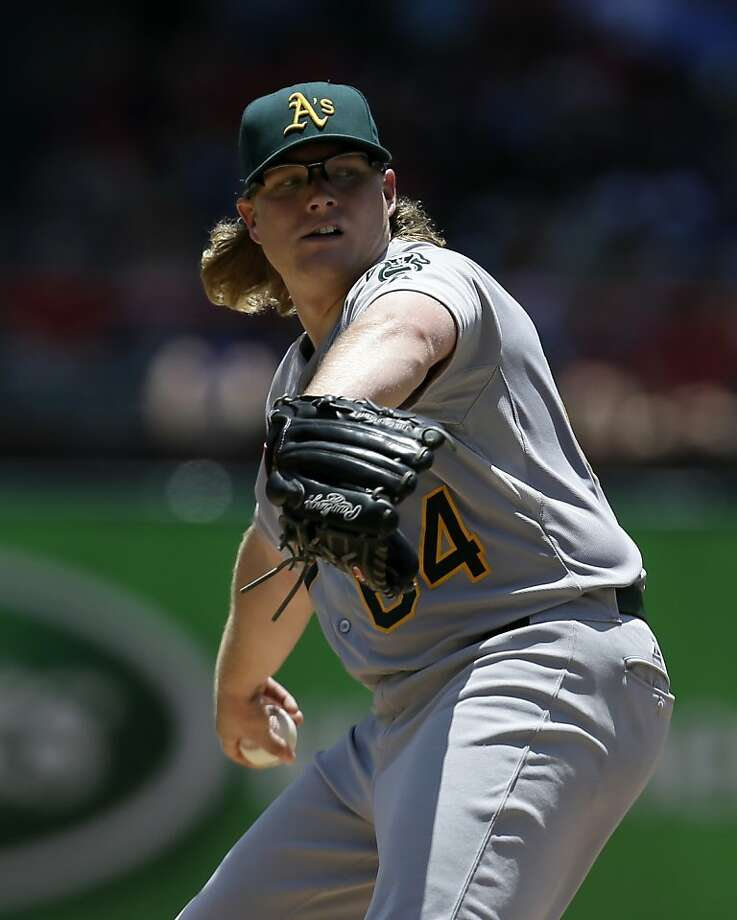 Oakland Athletics starting pitcher A.J. Griffin (64) works against the Texas Rangers in the second inning of a baseball game Thursday, June 20, 2013, in Arlington, Texas. (AP Photo/Tony Gutierrez) Photo: Tony Gutierrez, Associated Press