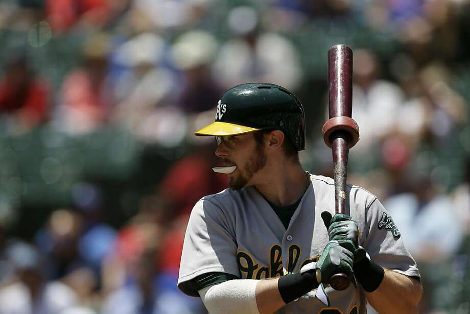Oakland Athletics' Eric Sogard (28) prepares for an at-bat against the Texas Rangers in the second inning of a baseball game Thursday, June 20, 2013, in Arlington, Texas. (AP Photo/Tony Gutierrez) Photo: Tony Gutierrez, Associated Press