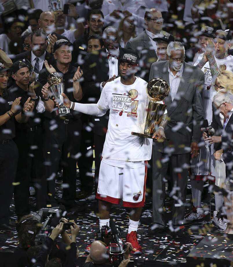 Miami Heat's LeBron James enjoys the moment after he is named the MVP after they beat the San Antonio Spurs in the NBA Finals at American Airlines Arena on Thursday, June 20, 2013 in Miami. (Jerry Lara/San Antonio Express-News) Photo: San Antonio Express-News