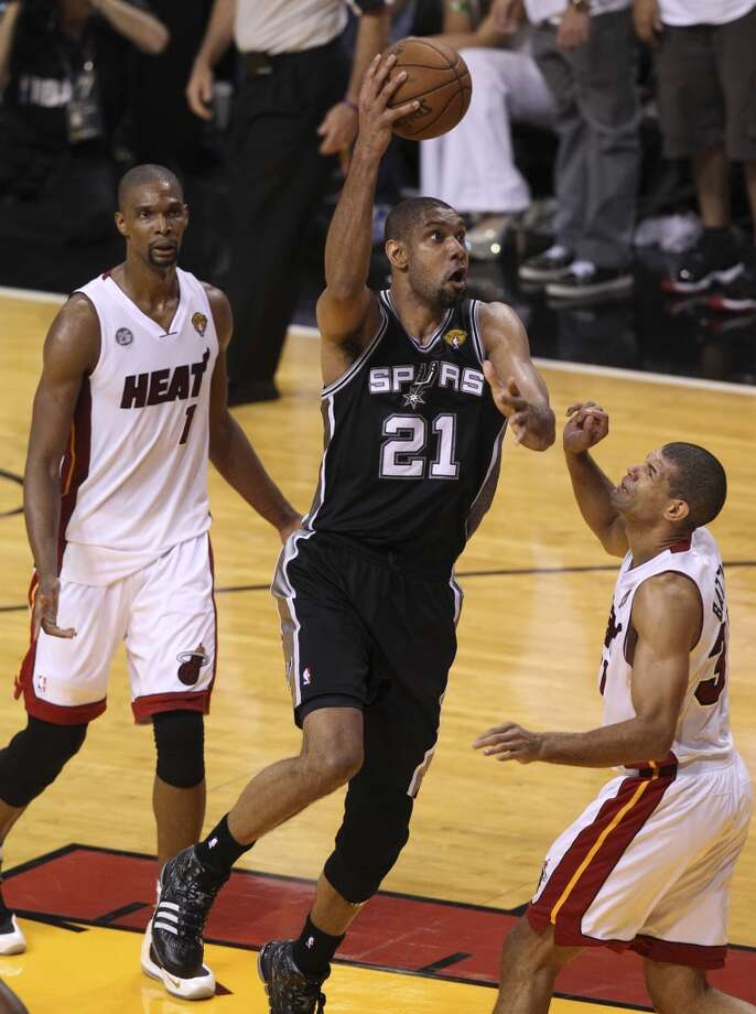 Tim Duncan misses a last second shot that would have tied the Spurs with the Heat during the second half of Game 7 of the NBA Finals at American Airlines Arena on Thursday, June 20, 2013 in Miami. (Kin Man HuiSan Antonio Express-News) Photo: San Antonio Express-News