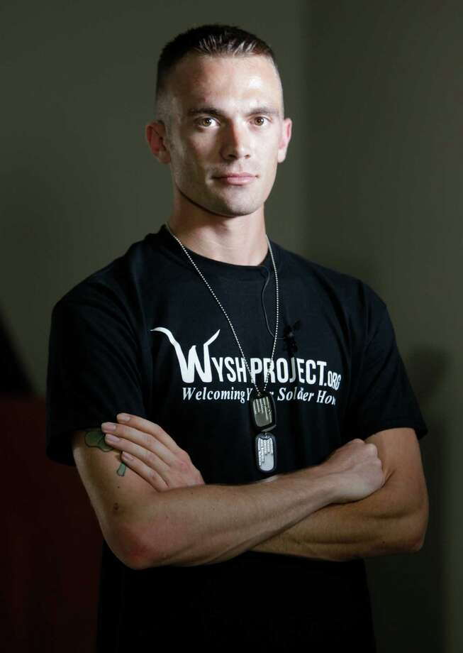 Army veteran Andrew O'Brien, founder of the Welcome Your Soldier Home project, is working to help others suffering from post-traumatic stress disorder. He became so ill that he attempted suicide. Photo: Melissa Phillip, Staff / © 2013  Houston Chronicle