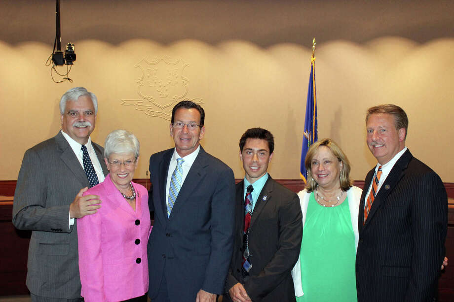 DanburyâÄôs legislative delegation secured $1.2 Million in funding for Healing Hearts. From left to right: State Rep. Bob Godfrey, Lieutenant Governor Nancy Wyman, Governor Dannel P. Malloy, State Rep. David Arconti, Debbie Ryan from Healing Hearts and State Rep. David Scribner, at todayâÄôs StateâÄôs Bond Commission meeting when funds were officially approved. Photo: Contributed Photo