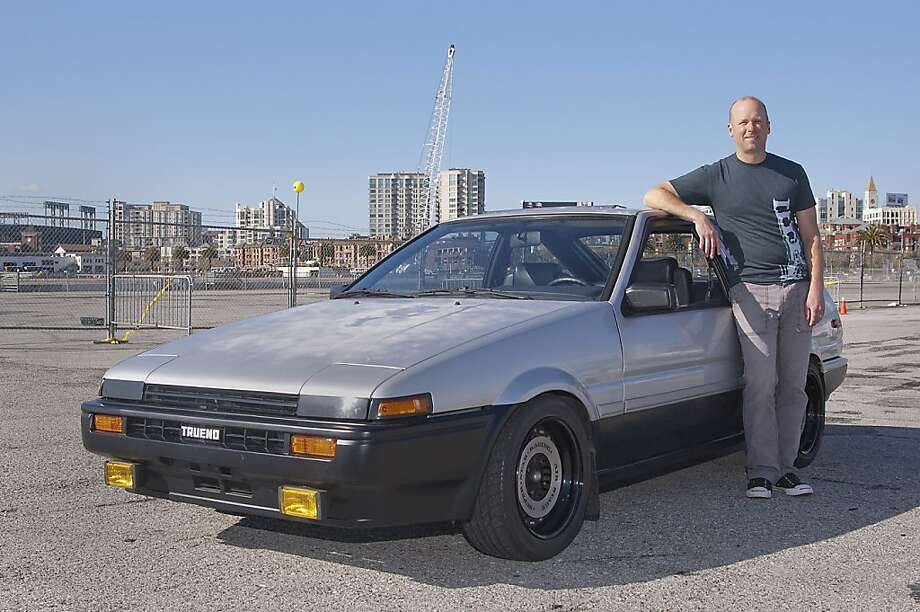"My ride - a 1985 Toyota Corolla GTS hatchback - has a chassis code of AE86, which in Japanese gets shortened to ""Hachi Roku"", says San Franciscan Brett Eilers, 48. Photo: Stephen Finerty, Photograph By Stephen Finerty -"