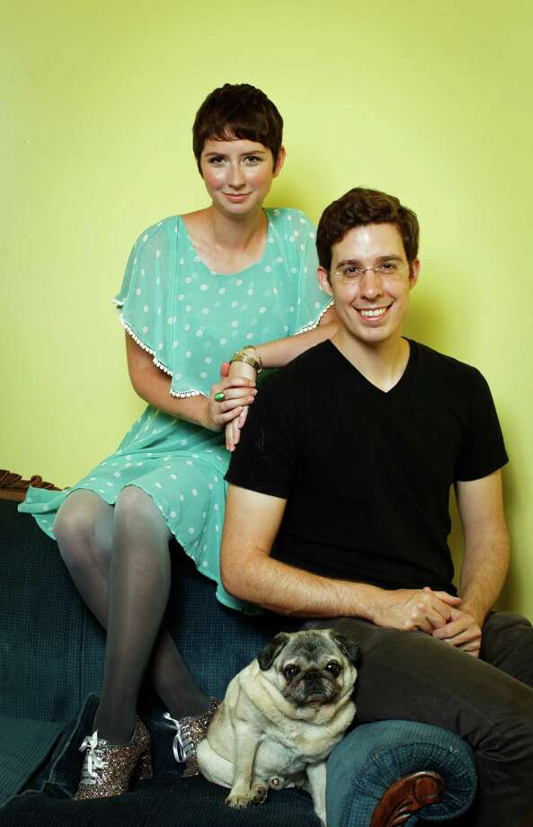 Susan Gregg Koger and Eric Koger, founders of ModCloth, with Winston, one of their two dogs, in San Francisco. Photo: Russell Yip, Staff / ONLINE_YES