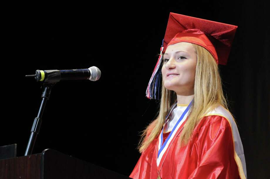 Nina Dytiuk gives her valedictorian address during Schenectady High School's graduation commencement at Proctors Theater on Friday June 21, 2013 in Schenectady, N.Y. (Michael P. Farrell/Times Union) Photo: Michael P. Farrell