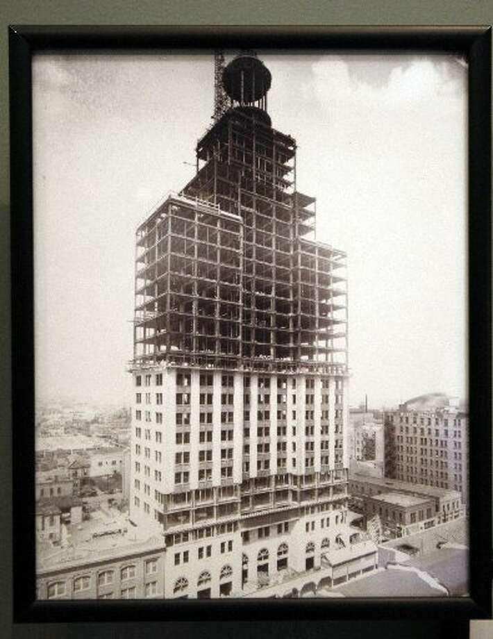 The Niels Esperson Building under construction.