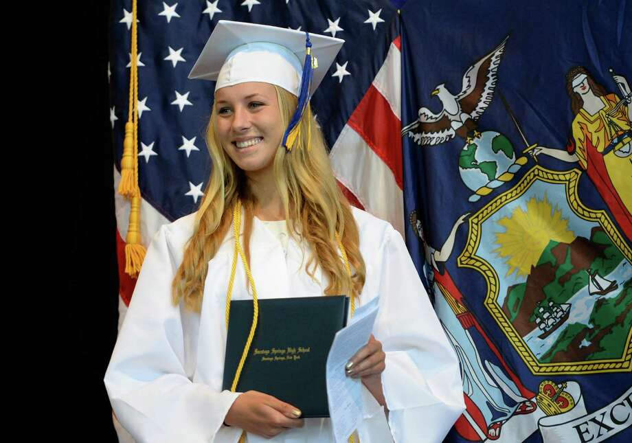 Caroline Murphy, daughter of Saratoga County DA Jim Murphy was one of over 480 Saratoga High School students that graduated during the ceremony held at the Saratoga Performing Arts Center June 21, 2013 in Saratoga Springs, N.Y.   (Skip Dickstein/Times Union) Photo: SKIP DICKSTEIN / 10022848A
