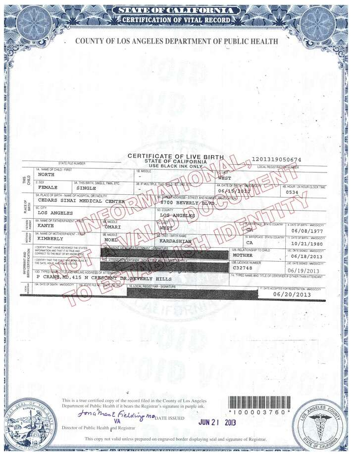 This document released by the Los Angeles County Department of Public Health shows the birth certificate for North West, the daughter of reality TV star Kim Kardashian and rapper Kanye West. The birth certificate says North was born at 5:34 a.m. Saturday, June 15, 2013 at Cedars-Sinai Medical Center in Los Angeles. (AP Photo/Los Angeles County Department of Public Health)