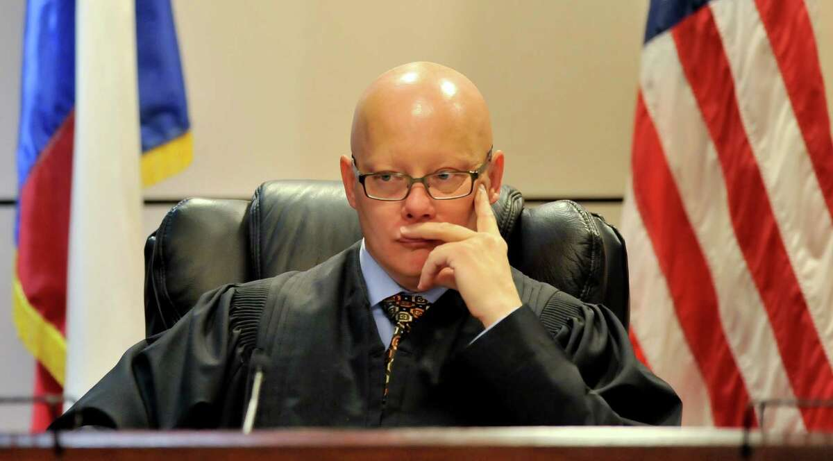Judge Angus McGinty of the 144 State District Court listens to closing arguements of the Aaron Alaniz murder trial Friday at the Cadena-Reeves Justice Center.