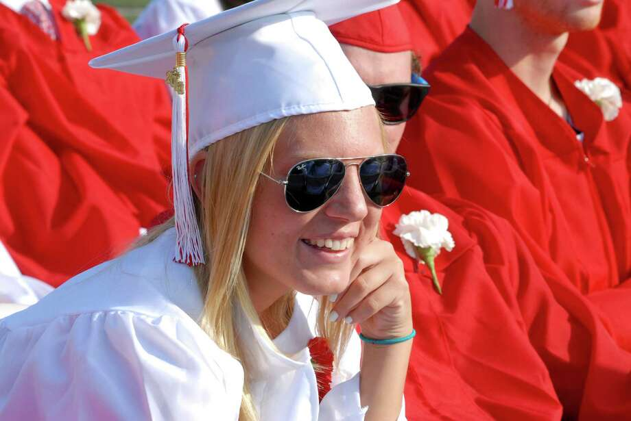 Tori Williams listens to speaker at New Canaan ( Conn. ) High School graduation commencement ceremony on Friday June 21, 2013. Photo: Dru Nadler / Stamford Advocate Freelance