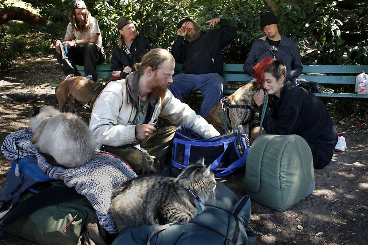 Raven, left , who is homeless with his two cats hangs out with Amber Blinzler and friends at Buena Vista Park, Friday June 21, 2013, in San Francisco, Calif. The biennial San Francisco homeless count, which is to be released Friday.