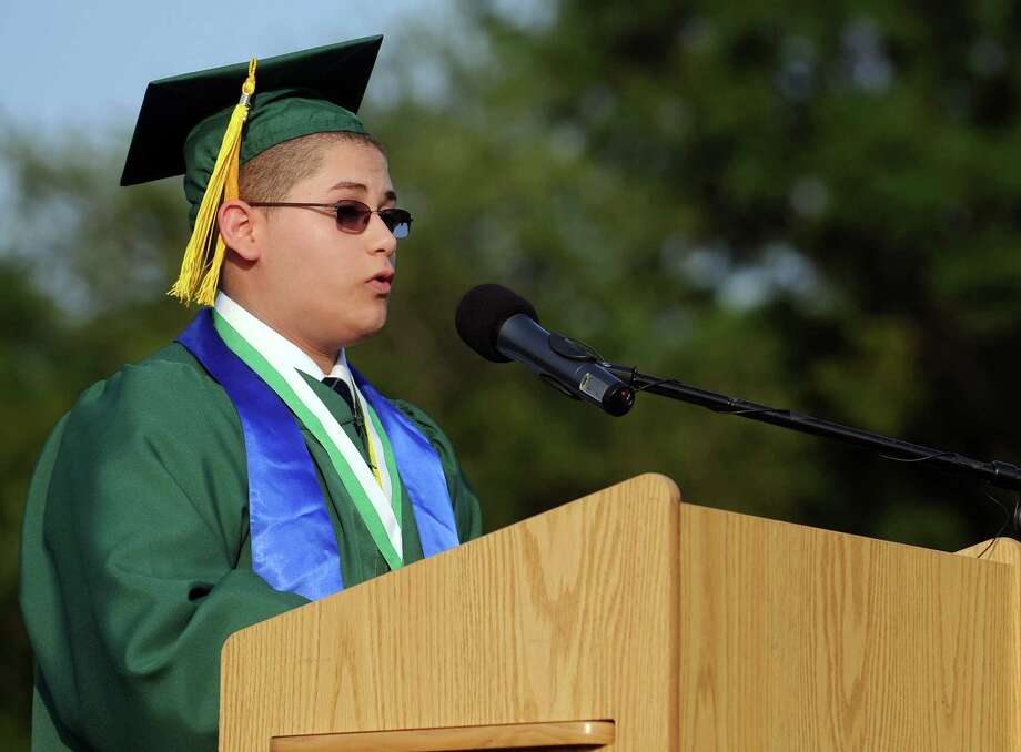 Class valedictorian Michael Morabito speaks during Friday's commencement ceremony at Norwalk High School on June 21, 2013. Photo: Lindsay Perry / Stamford Advocate