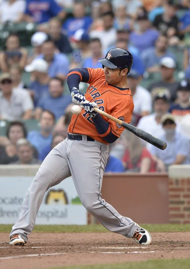 Carlos Pena cannot check his swing as he strikes out in the fourth inning.