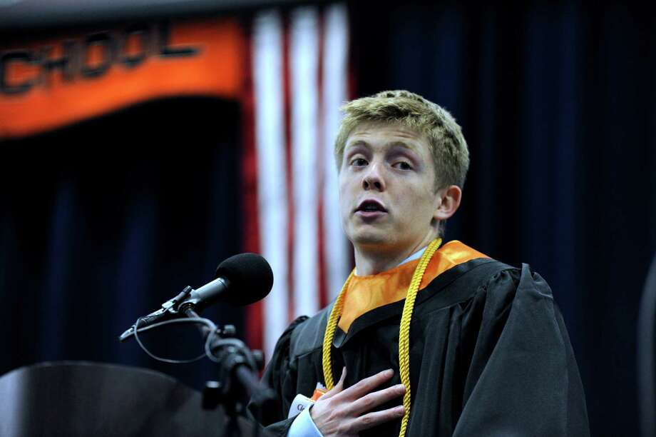 Timothy Ranney gives the class speaker's address Friday afternoon. Ridgefield High School holds its graduation ceremony Friday, June 21, 2013, at the O'Neill Center at Western Connecticut State University in Danbury, Conn. Photo: Carol Kaliff / The News-Times