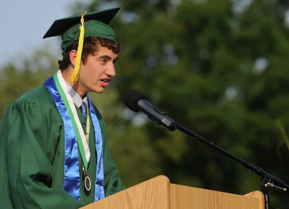 Class Vice President Jeremy Falcone speaks during Friday's commencement ceremony at Norwalk High School on June 21, 2013. Photo: Lindsay Perry / Stamford Advocate