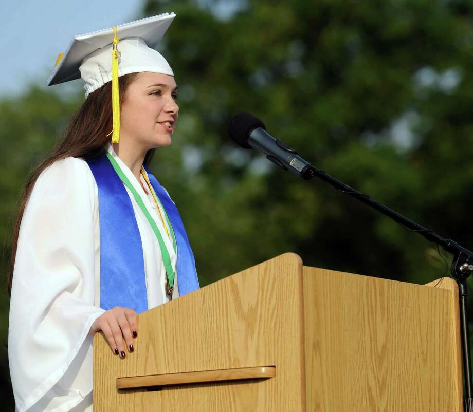 Class Salutatorian Kaitlyn Solano speaks during Friday's commencement ceremony at Norwalk High School on June 21, 2013. Photo: Lindsay Perry / Stamford Advocate