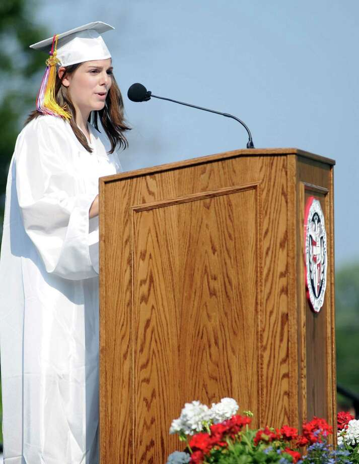 Valedictorian Lauren D'Arinzo speaks during Friday's commencement ceremony at Brien McMahon High School on June 21, 2013. Photo: Lindsay Perry / Stamford Advocate