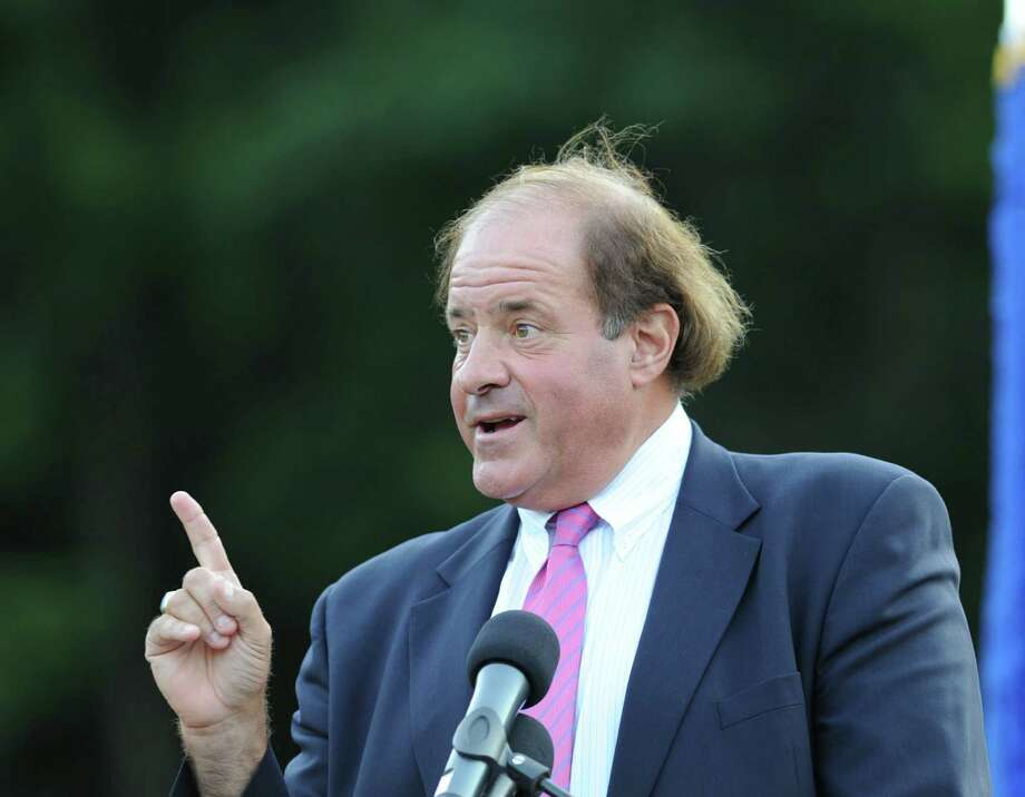 Chris Berman, an ESPN sportscaster, gives the Commencement Address during the Greenwich High School graduation ceremony at Cardinal Stadium, Friday evening, June 21, 2013. Photo: Bob Luckey / Greenwich Time